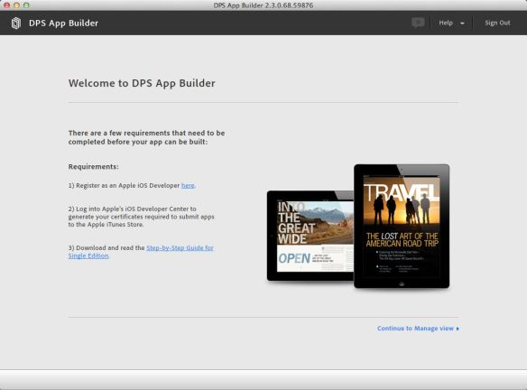 Image of DPS app builder opening screen